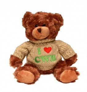 "Bear wearing sweater reading ""I Heart CWB"""