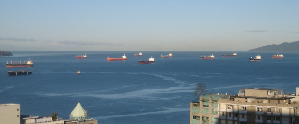 Grain Ships waiting off Vancouver - D. Stokes photo